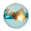 Glass Bead Round 14mm 8'' Str. Aqua/Gold